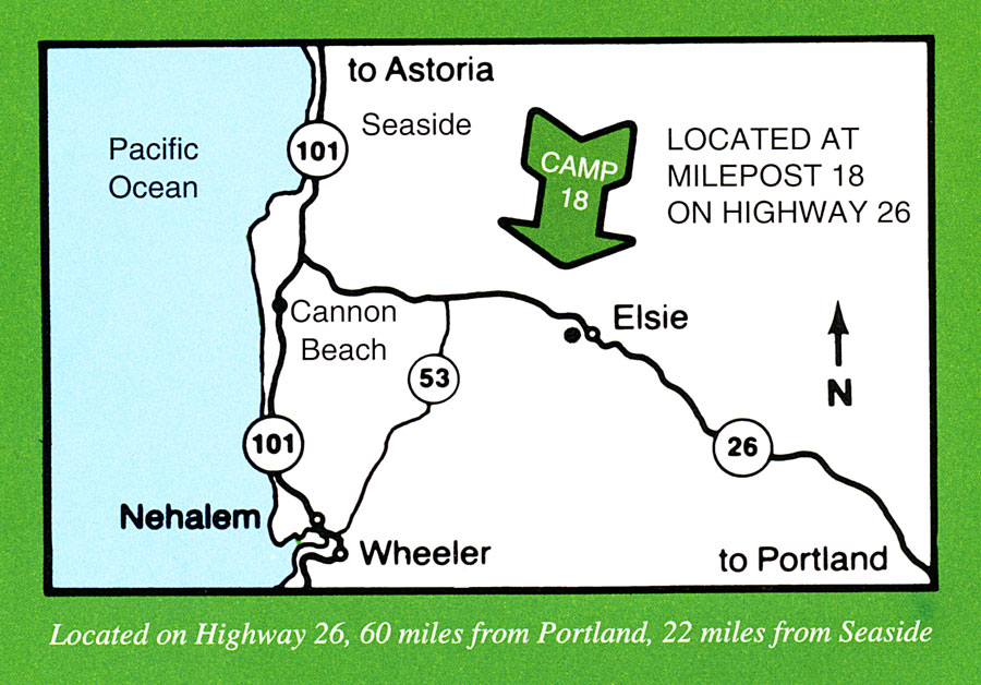 Map Of Camp 18 Restaurant - Elsie Oregon Logging Museum, Memorial, Conference Event and Meeting Facililty - Visitor Center for Seaside, Astoria, Cannon Beach